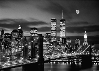 new york city twin towers at night mini a2 paper poster