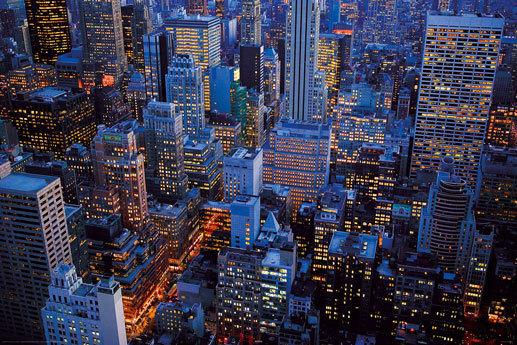 Laminated new york midtown manhattan at dusk h maxi poster