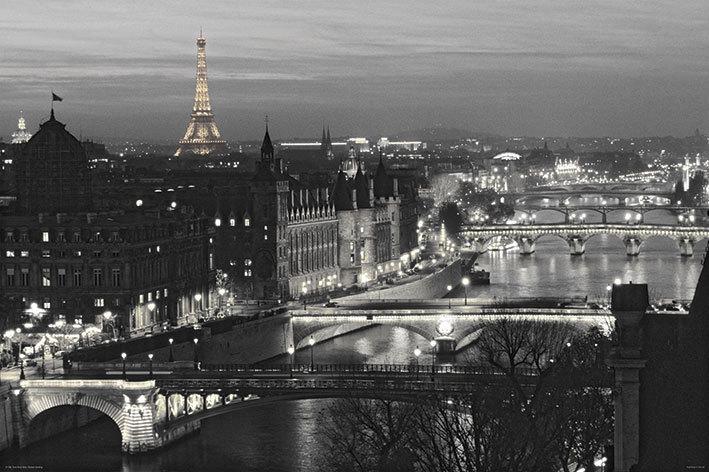 Paris river view b w maxi paper poster