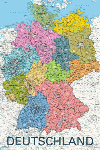 Deutschland - Germany Map in GERMAN Language - Maxi Paper Poster ...