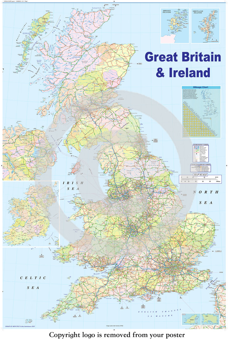 United Kingdom GB Road Map Maxi Paper Poster Camden Town Poster