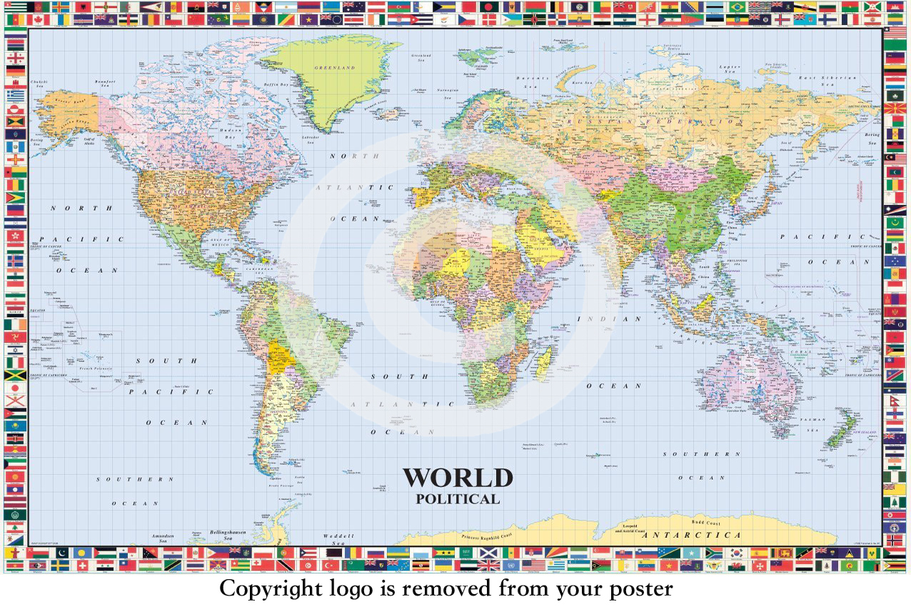 World political map flags giant paper poster camden town poster world political map flags giant paper poster gumiabroncs Image collections