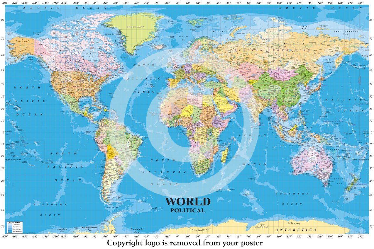 World political map with sea contours educational maxi paper world political map with sea contours educational maxi paper poster gumiabroncs Choice Image
