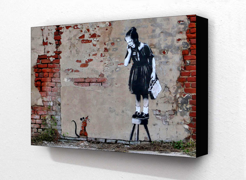 Banksy Rat Girl On Chair Block Mount Camden Town