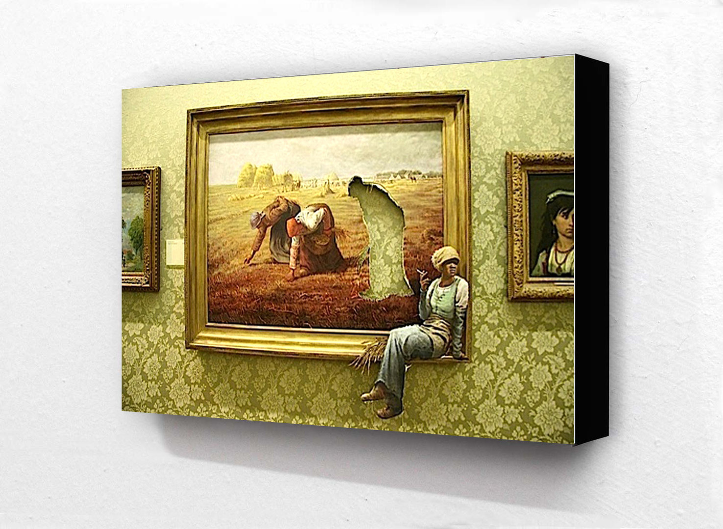 Banksy - Cigarette Break Art Painting Block Mount - Camden Town ...