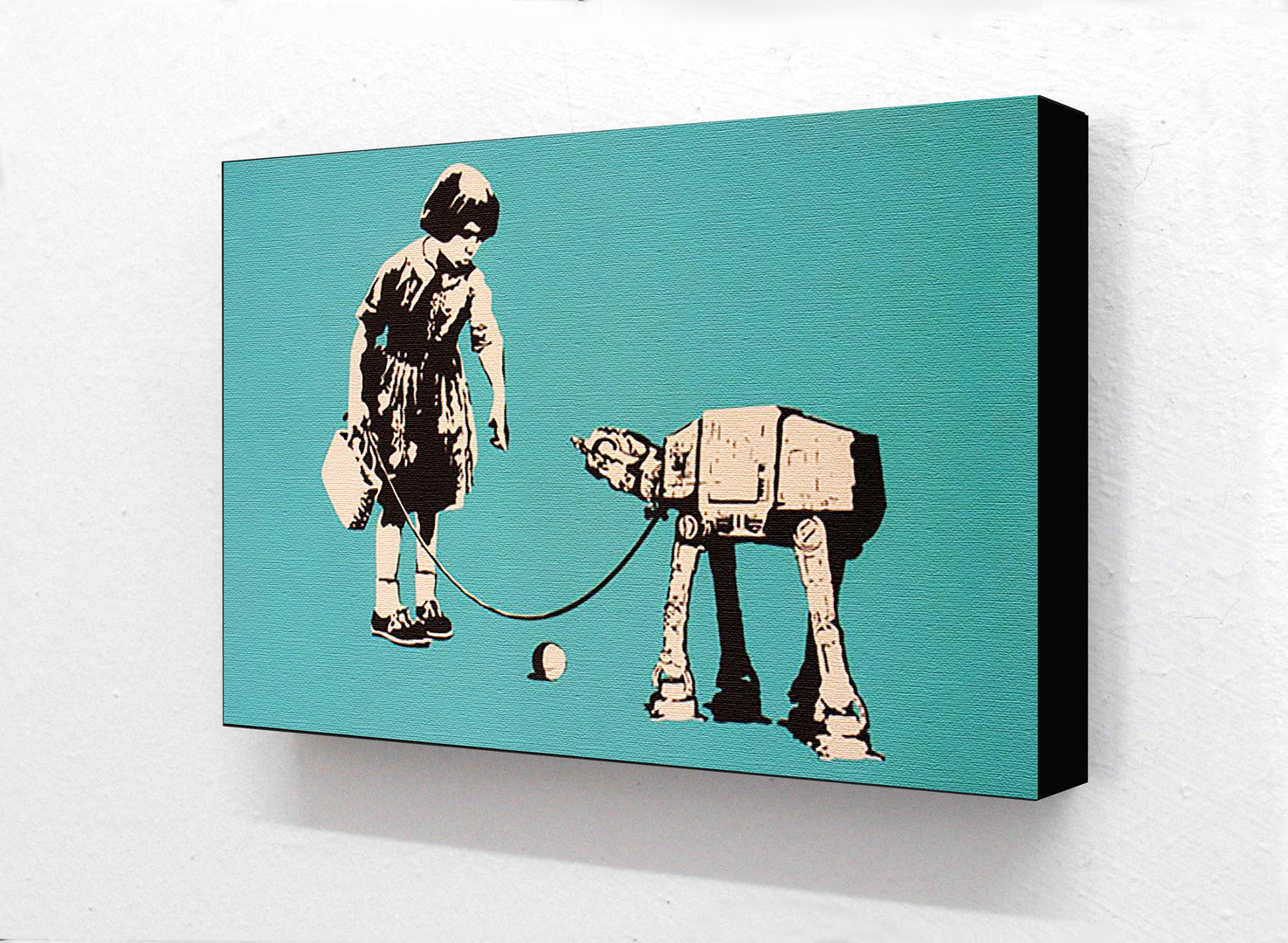 Banksy Star Wars Robot Dog Ball Horizontal Block Mounted Print