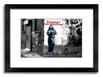 Banksy Tourist Info 2 Tone Framed Mounted Print