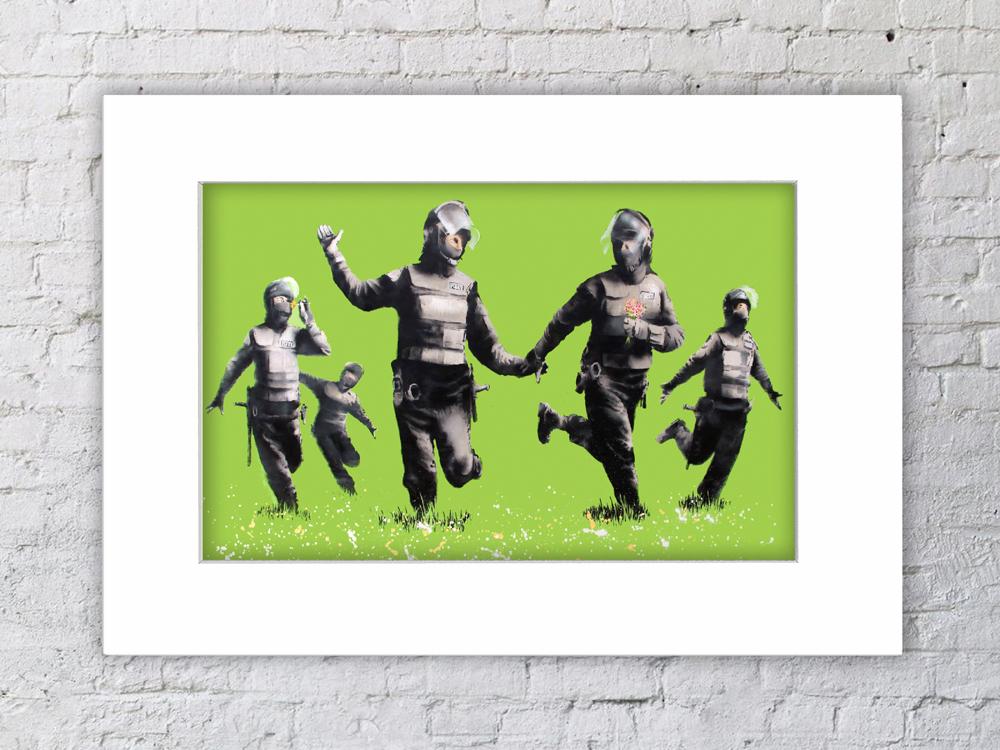 Banksy Happy Coppers Green Field Mounted Print Camden