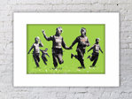 Banksy Happy Coppers Green Field Mounted Print