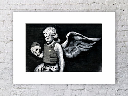 Banksy Angel Skull Body Armour Mounted Print