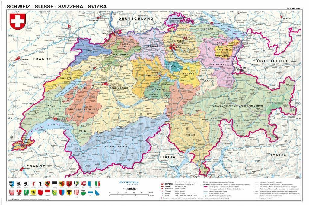 Schweiz Politisch Swiss Map In Swiss Languages Camden Town - Languages map of switzerland