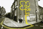 Banksy - Pollard Street Yellow Flower Man Mini Paper Poster