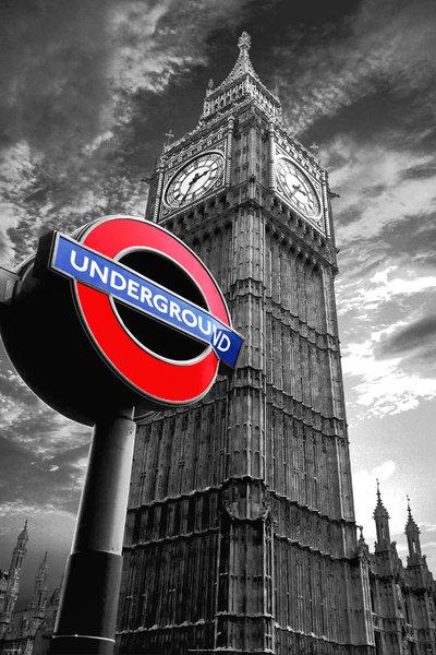 London Big Ben Underground Sign Mini A2 Paper Poster