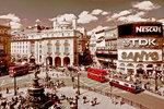 London - Piccadilly Circus Red Buses - Vintage Adverts - Sepia Mini A2 Paper Poster