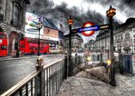 London - Piccadilly Underground Sign - Colour Psychedelic Art Mini A2 Paper Poster