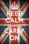 Black Framed - Keep Calm and Carry On - Union Jack - Vintage Propaganda Mini A2 Poster