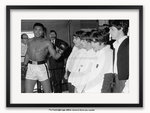 Framed with WHITE mount Muhammad Ali / Cassius Clay and the Beatles A1 music sport poster
