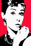 Audrey Hepburn - Red Pop Art - A2 Paper Poster