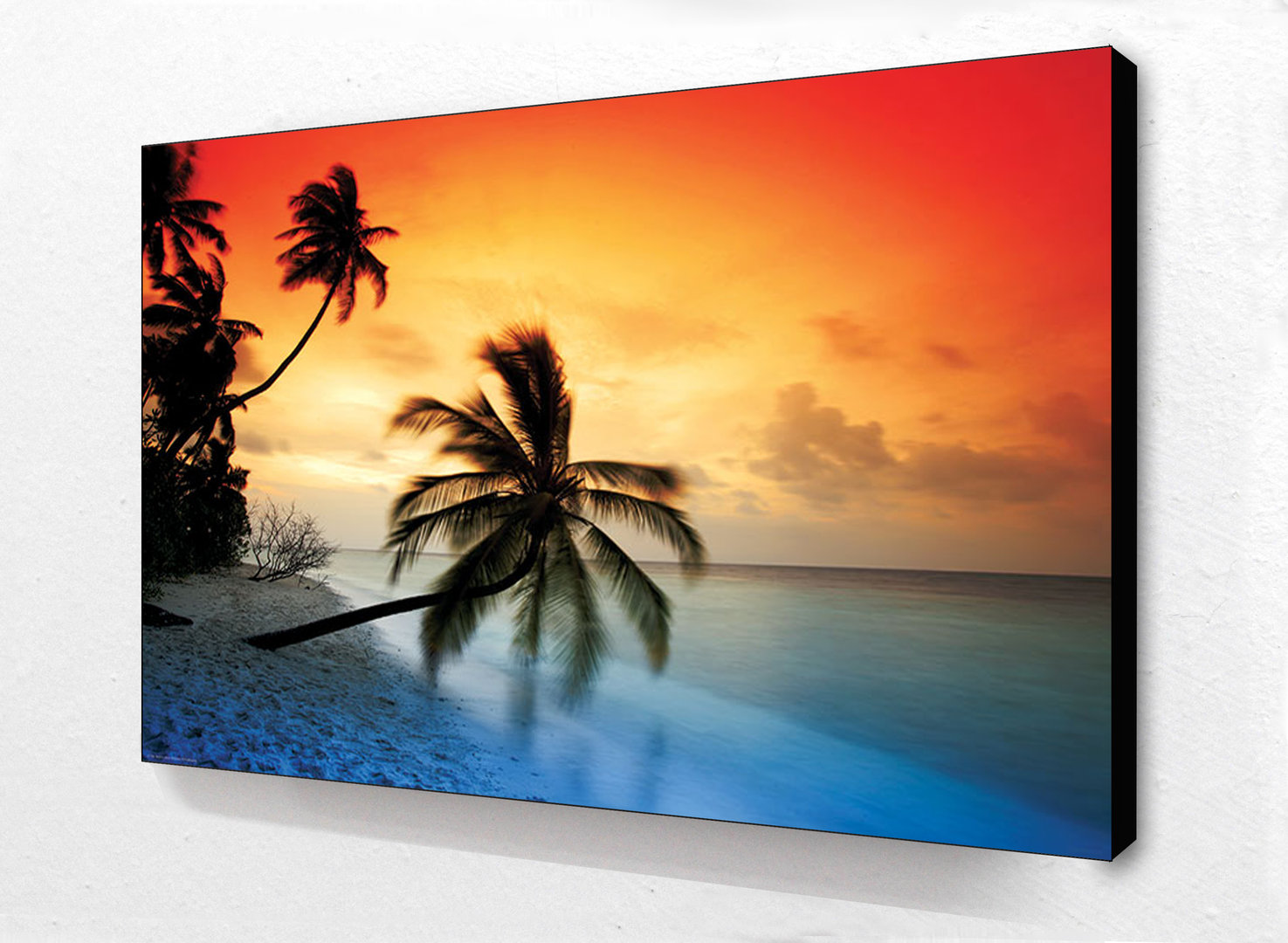Block mounted - Maldives Sunset Palm Beach - Maxi Poster