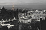 Paris River View b/w- Maxi Paper Poster