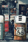 Route 66 - Gas Station  - Pumps - Maxi Paper Poster