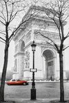 Paris - Arc de Triomphe - Red Car - Maxi Paper Poster