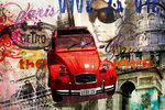 Paris - Red Citroën - Deux CV - Art - H - Maxi Paper Poster