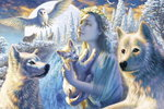 Spirit of the Mountain - Fairy, Wolves & Owl - H - Maxi Paper Poster
