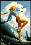 Hidebrandt Retro Airplane USA Girl - Maxi Paper Poster