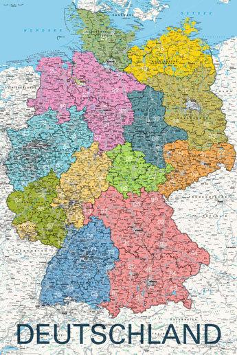Map Of Deutschland Germany.Deutschland Germany Map In German Language Maxi Paper Poster