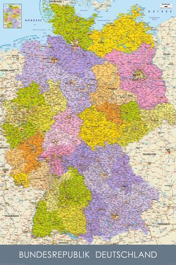 Bundesrepublik Deutschland - Germany Map in GERMAN Language - Maxi ...