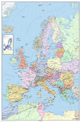 europe map in german language maxi paper poster