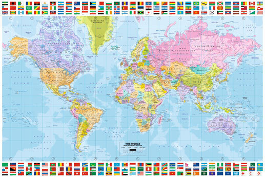 World map printed flags top and bottom 2011 edition maxi paper world map printed flags top and bottom 2011 edition maxi paper poster gumiabroncs Choice Image