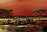 African Elephants - Art - Mini Paper Poster