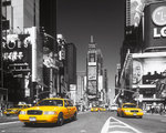 New York City - Times Square - Yellow Cabs - Mini Paper Poster