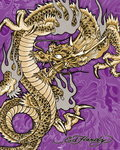 Ed Hardy - Golden Dragon - Mini Paper Poster