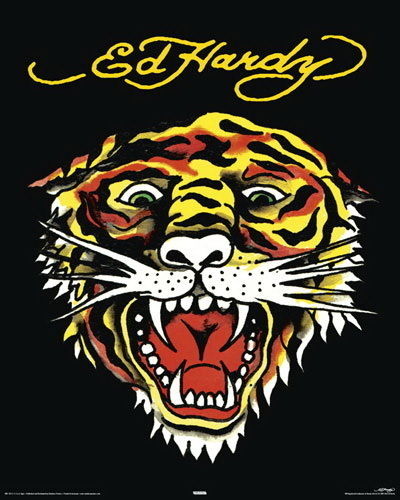 outlet store 57a77 c897a Ed Hardy - Tiger Face - Mini Paper Poster