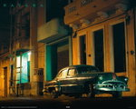 Cuba Green Vintage Car - Mini Paper Poster