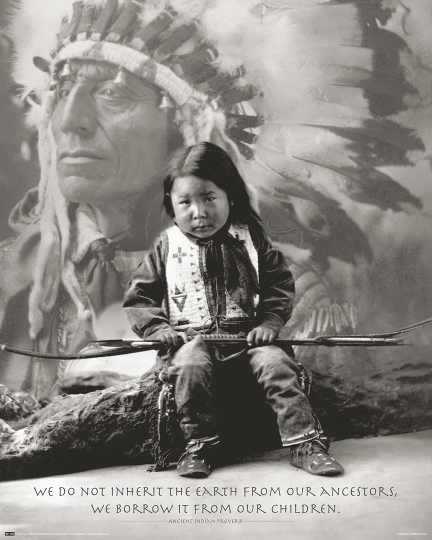 Native American Indian Boy Proverb Mini Paper Poster