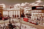 London - Piccadilly Circus - Vintage Adverts - Sepia - Maxi Paper Poster