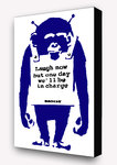 Banksy  Laugh Now Monkey Blue Postcard Size Block Mount