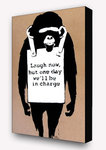 Banksy - Laugh Now Monkey Brown Block Mount