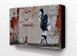 Banksy -  Rat Girl On Chair Block Mount