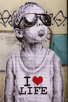 Banksy - I Love Life Boy - Mini Paper  Poster