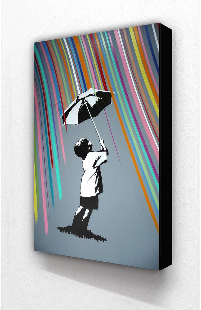 Banksy Boy Umbrella Coloured Rain Vertical Block Mount Camden Town Poster Company