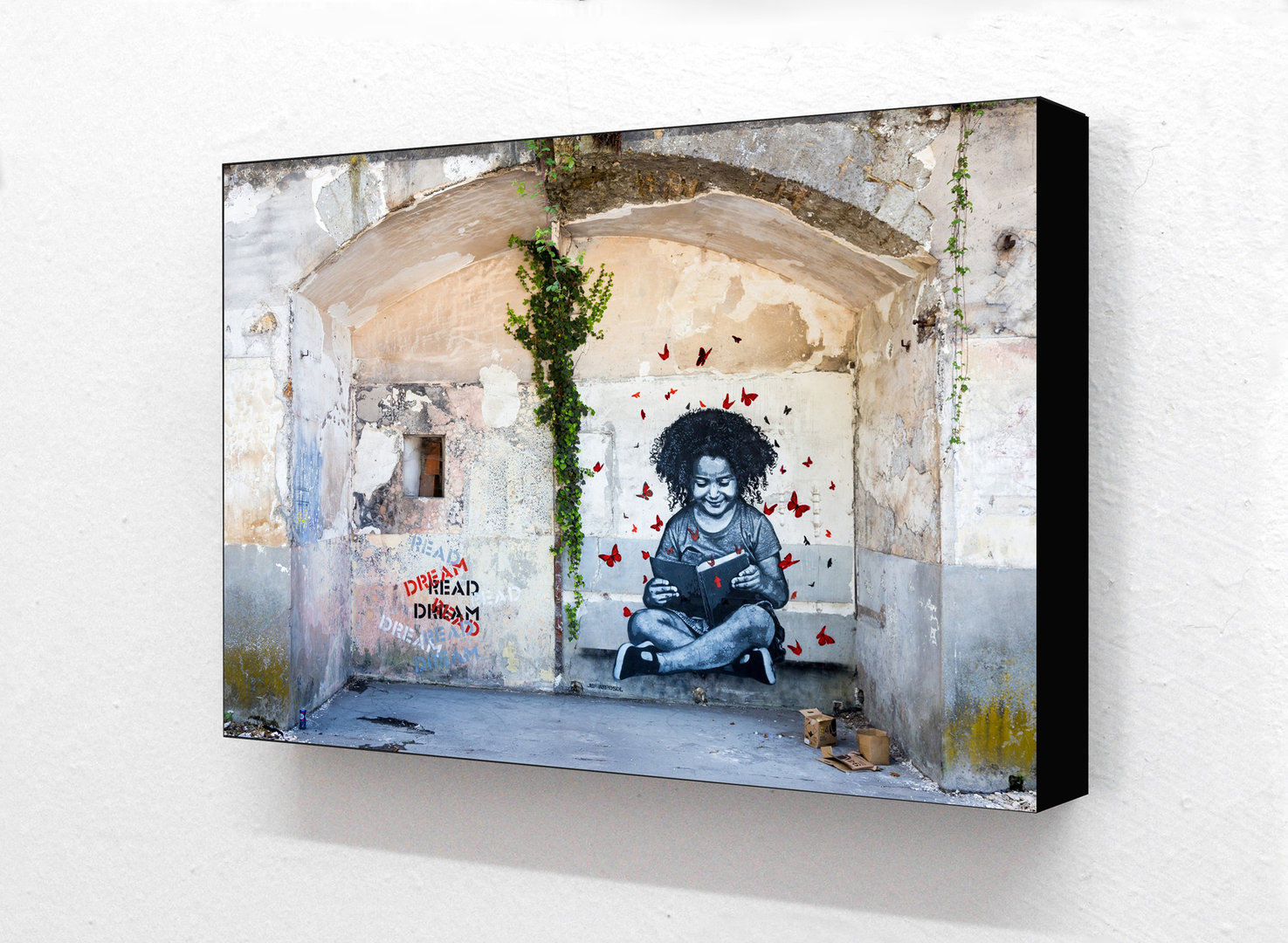 Banksy - Dream Girl Reading Horizontal Block Mounted Print