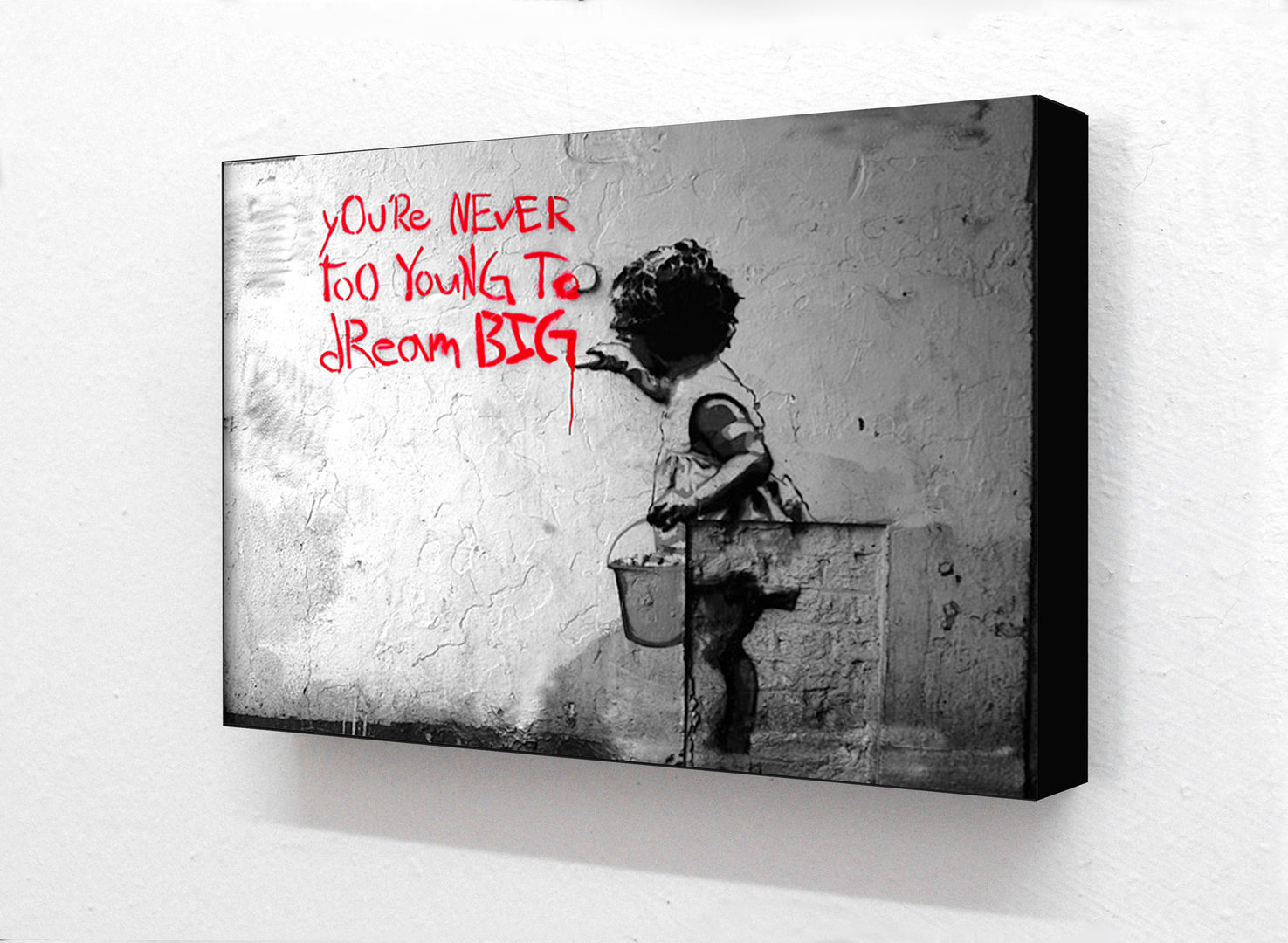 Banksy - Never Too Young To Dream Big Horizontal Block mounted Print