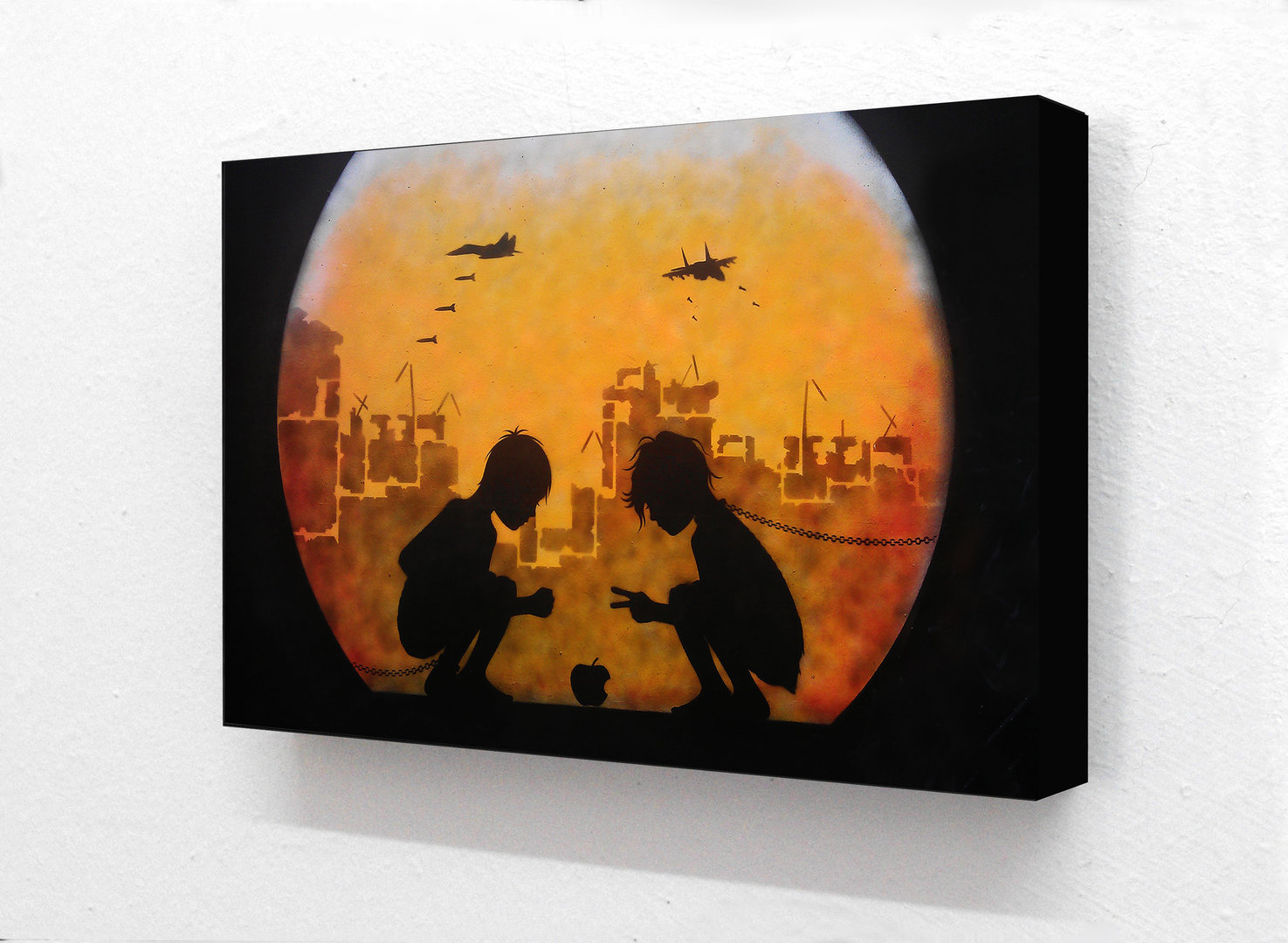 Banksy - Boy & Girl Apple Warzone Horizontal Block mounted Print