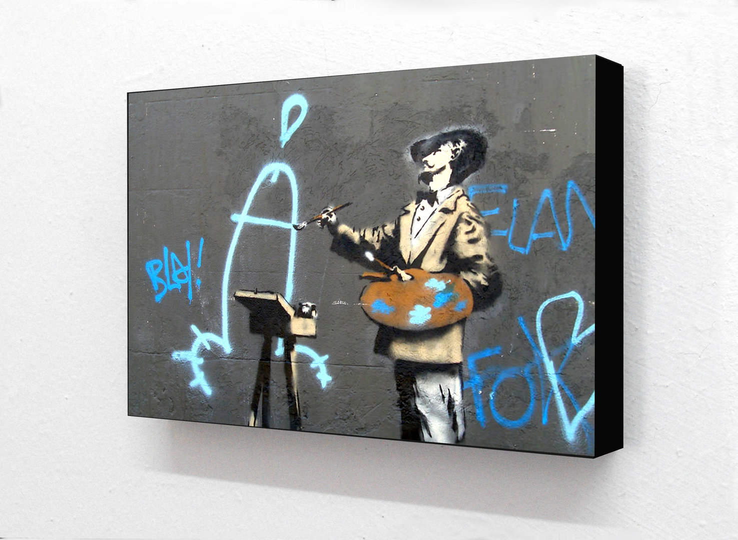Banksy - Dali Dick Painter Horizontal Block mounted Print