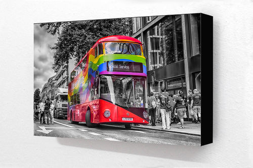 London Red Bus Pride Special Service Block Mounted Print